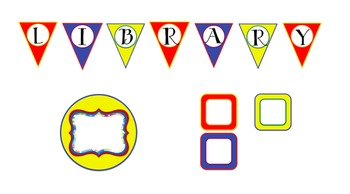 Library Letter Pennants (Primary Colors) with Coordinating Blank Labels
