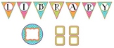 Library Letter Pennants with Coordinating Blank Labels