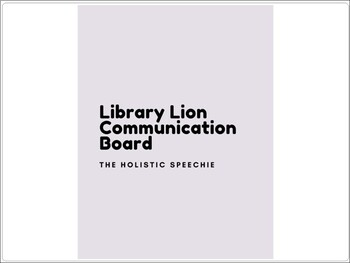 Library Lion Communication Board