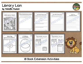 Library Lion by Knudsen 18 Book Extension Activities NO PREP