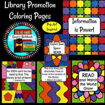 Library Media Color Sheets Pop Art Inspired Great for Promotion and Library Week
