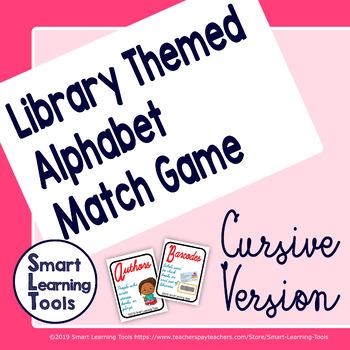 Library Media Center ABC Match Game - Cursive Version