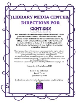 Library Media Center Directions for Centers