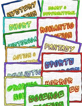 Library Media Center Genre Signs, Cool Bright Color Pop Ed.
