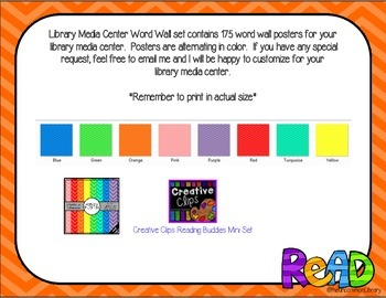 Library Media Center Word Wall - 175 Posters in Chevron