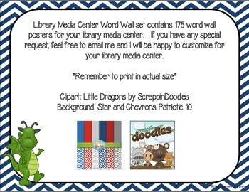 Library Media Center Word Wall - 175 Posters in Navy Chevron Little Dragon