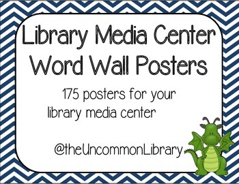 Library Media Center Word Wall - 175 Posters in Navy Chevr