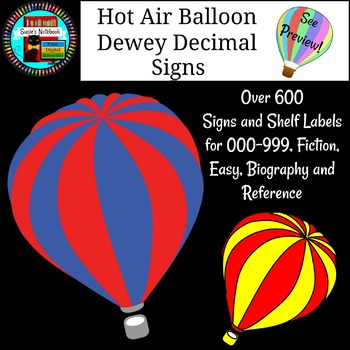 Library Media Dewey Signs Beautiful Hot Air Balloons