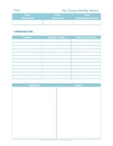 Library Monthly Review Printable