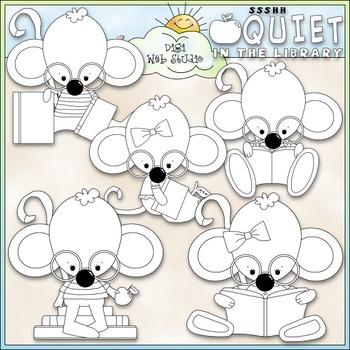 Library Mouse Clip Art - Reading Clip Art - Library Clip Art - CU Clip Art & B&W