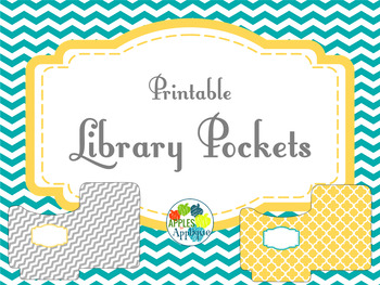 Library Pockets in Yellow, Teal, and Gray