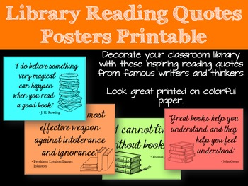 Library Reading Quotes Posters Printable