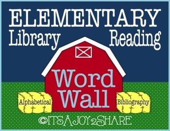 Library / Reading Word Wall - Farm Theme