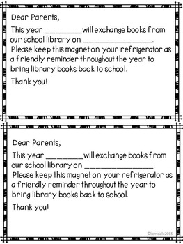 Library Reminder Refrigerator Magnets