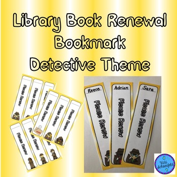 Library Renew a Book Detective Themed Bookmark