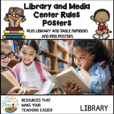 Library and Media Center Rules Posters plus table numbers