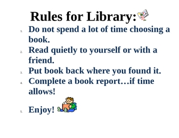 Library Rules for 1st Grade
