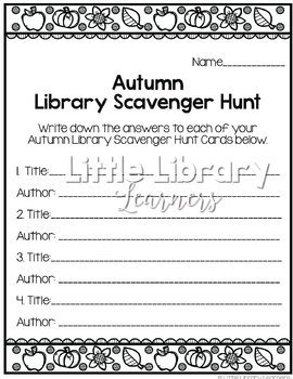 Library Scavenger Hunt- Autumn/ Fall Themed