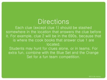 Library Scavenger Hunt: Green Set