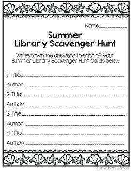 Library Scavenger Hunt- Summer Themed