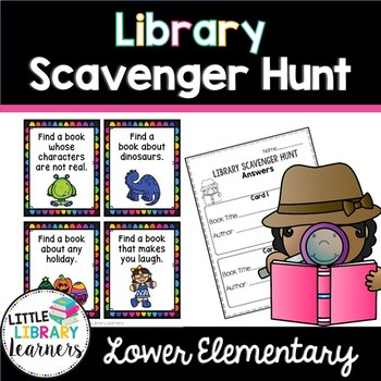 Library Scavenger Hunt Task Cards- Lower Elementary