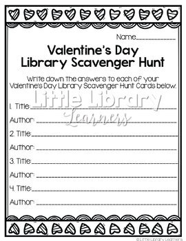 Library Scavenger Hunt- Valentine's Day Themed