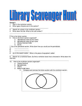 Library Scavenger Hunt for five groups!