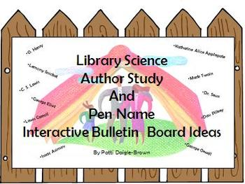Library Science Author Study & Pen Name Interactive Bulletin Board Ideas