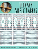 Library Shelf Labels Fiction/Dewey 000-900 Navy Coral CHEVRON - Teal Border