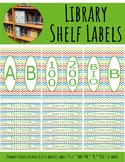Library Shelf Labels Fiction/Dewey 000-900 Primary Colors Chevron Green Border