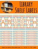 Library Shelf Labels Fiction/Dewey 000-900 Primary Colors Chevron Orange Border