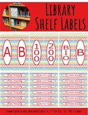 Library Shelf Labels Fiction/Dewey 000-900 Primary Colors Chevron Red Border