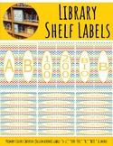 Library Shelf Labels Fiction/Dewey 000-900 Primary Colors Chevron Yellow Border