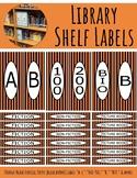 Library Shelf Labels Fiction/Dewey Orange/Black VERTICAL STRIPE (black border)