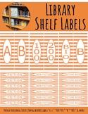 Library Shelf Labels Fiction/Dewey Orange HORIZONTAL STRIPE (orange border)