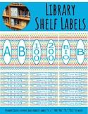 Library Shelf Labels Fiction/Dewey 000-900 Primary Colors Chevron Blue Border