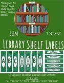 Library Shelf Labels for Clip-On Book Ends Green and White