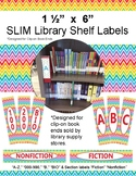Library Shelf Labels for Clip-On Book Ends Rainbow Chevron