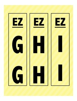 Library Shelf Markers EZ Section: Yellow