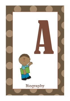Library Shelf Signs - Biography - Brown Dot