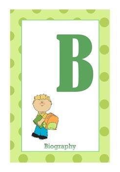 Library Shelf Signs - Biography - Green Dot
