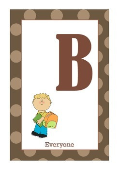 Library Shelf Signs - Everyone Section - Brown Dot