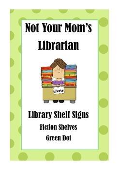 Library Shelf Signs - Fiction - Green Dot