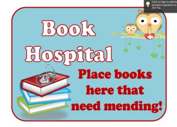 Library Sign: Book Hospital