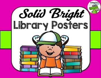 Library Sign Bright Solid Poster Pack