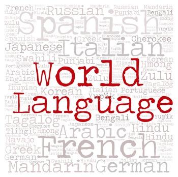Library Sign:  WORLD LANGUAGE