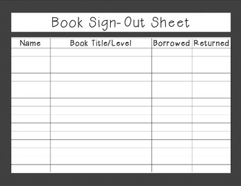 Library Sign in/out sheet