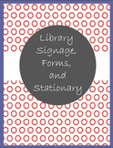 Library Signage, Forms, and Stationary Red and Royal Blue