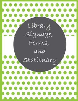 Library Signage, Forms, and Stationary in Bright Green Polka Dots
