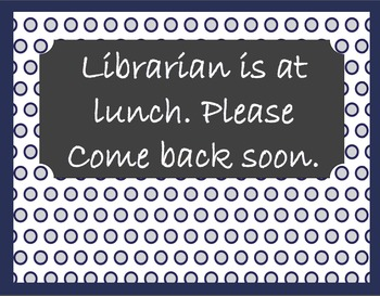 Library Signage, Forms, and Stationary in Navy and Gray Polka Dots